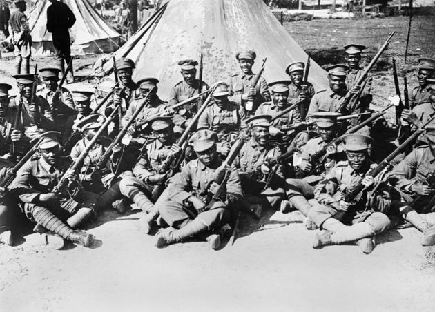 Soldiers of the British West Indies Regiment in camp on the Albert to Amiens Road, France, World War...