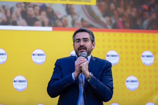 ROMA, ITALY - 2020/02/15: Riccardo Fraccaro on the stage of the M5S event. Large demonstration in the...