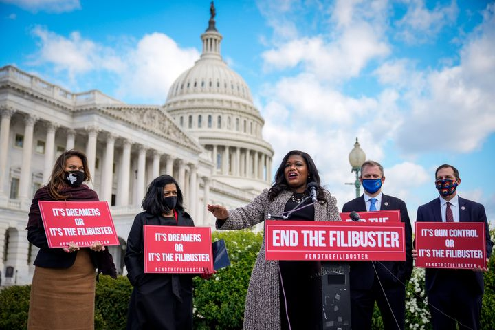 Rep. Cori Bush (D-Mo.) speaks during a news conference to advocate for ending the Senate filibuster, outside the U.S. Capitol
