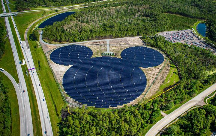 A massive solar array in the shape of Mickey Mouse is one of four facilities that will provide renewable energy to the Walt D