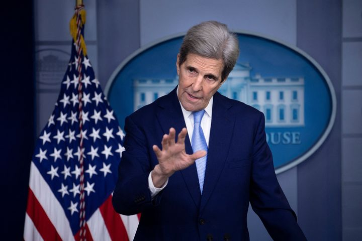 White House climate envoy John Kerry speaks during a press briefing on April 22.