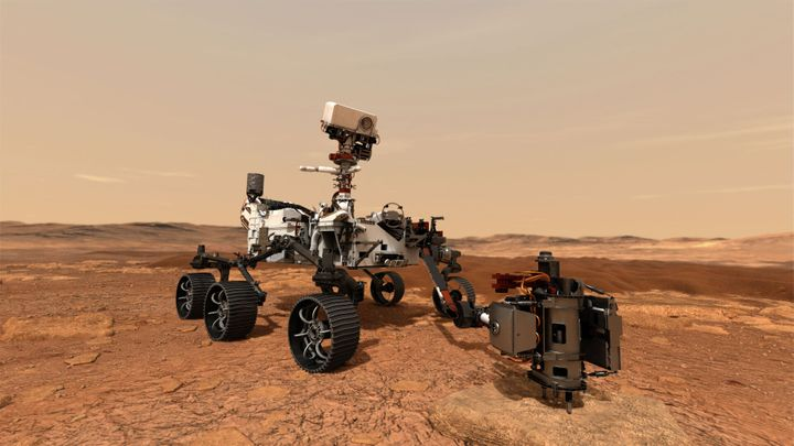 A concept illustration provided by NASA shows the Perseverance rover using its drill to core a rock sample from Mars. These s