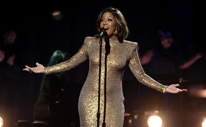 Mickey Guyton performs at the 2021 Grammy Awards in Los Angeles.