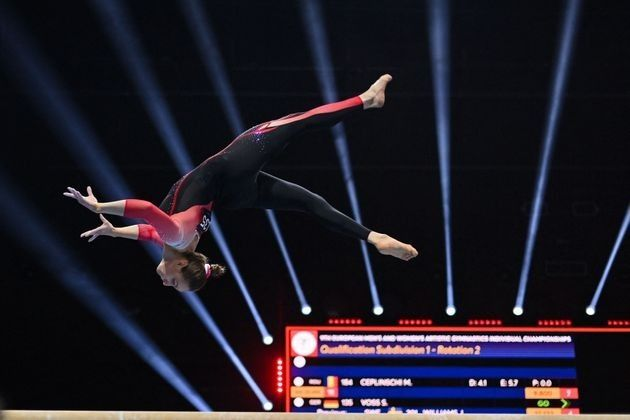 4月21日に開催されたヨーロッパ体操競技選手権の平均台に出場したサラ・ヴォス選手