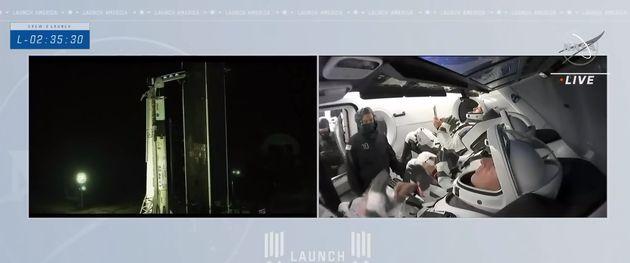 Olivier Pesquet et ses collègues astronautes attendent le lancement dans la capsule Crew-2 de