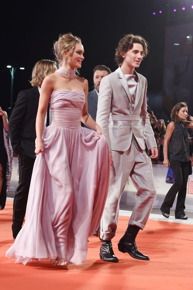 Lily-Rose Depp and Timothee Chalamet attend a screening of The King at the Venice Film