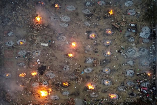 A mass cremation of victims who died due to the coronavirus disease (COVID-19), is seen at a crematorium...