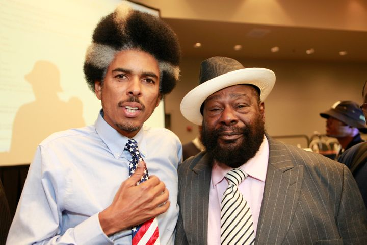 Shock G, pictured with George Clinton in 2012, was found unresponsive in a Tampa hotel room, according to a friend.