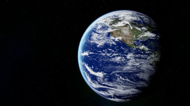 Planet Earth against black background and starry sky.3D
