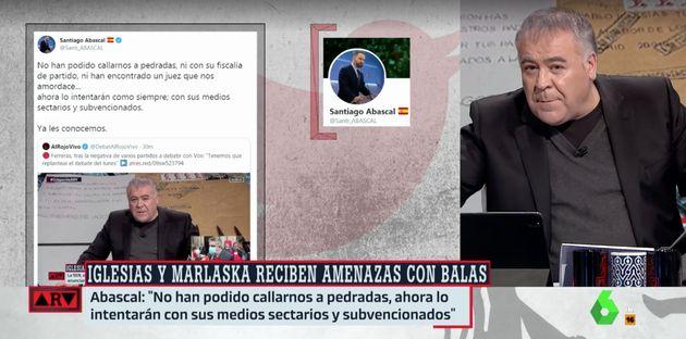Antonio García Ferreras responde en 'Al Rojo Vivo' a este tuit de Santiago Abascal