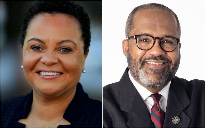 Louisiana state Sens. Karen Carter Peterson, left, and Troy Carter, right, are competing in a runoff special election on Satu