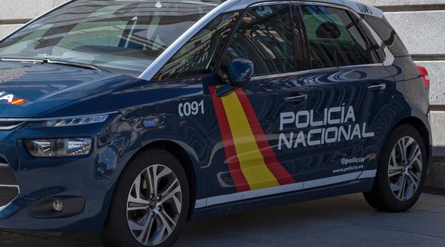 Madrid, Spain - June 05 2018: A police car from the national police (Spanish: Policia Nacional) parked...