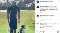 Tiger Woods souriant sur ses béquilles, dans une nouvelle photo