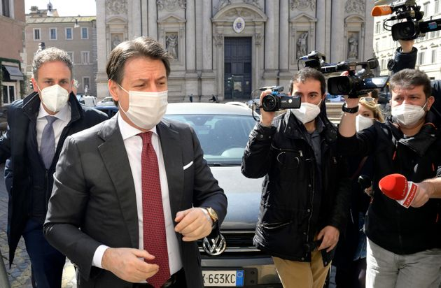 The leader of the M5s in pectore, Giuseppe Conte, on his arrival at the meeting with the secretary of...
