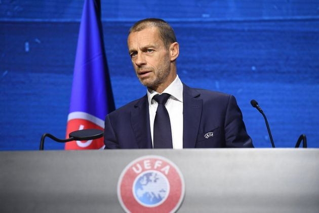 epa09146635 A handout photo made available by the UEFA of UEFA President Aleksander Ceferin speaking...