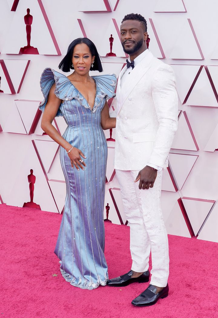 "King and Aldis Hodge, star of ""One Night in Miami,"" on the red carpet of the 2021 Oscars."