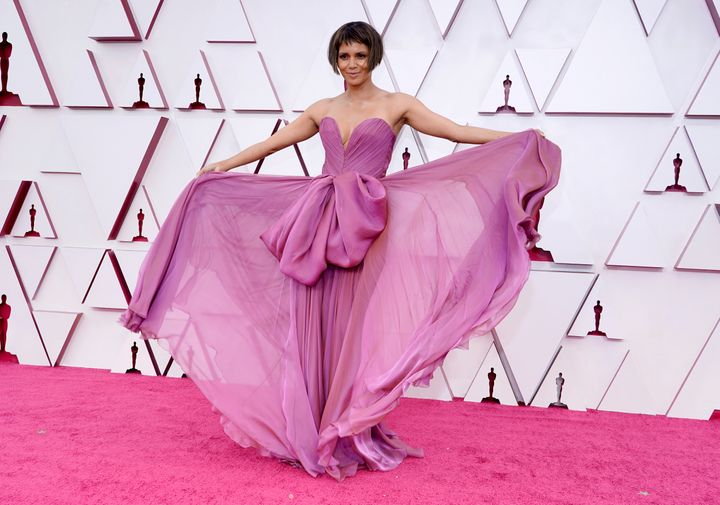 Halle Berry arrives at the Oscars on Sunday, April 25, 2021 in Los Angeles.