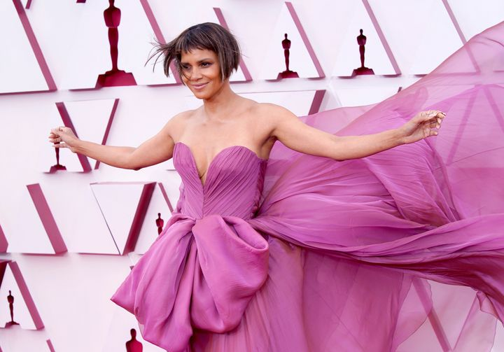 Halle Berry at the Oscars red carpet in Los Angeles.