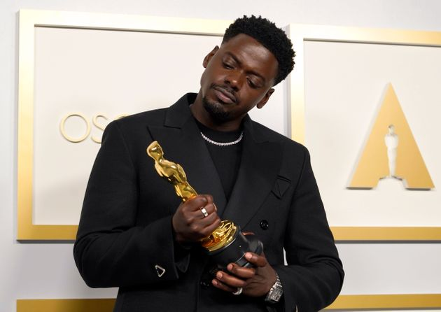 Daniel Kaluuya backstage at the Oscars after winning his