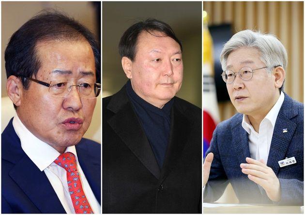 홍준표 무소속 의원, 윤석열 전 검찰총장, 이재명 경기도