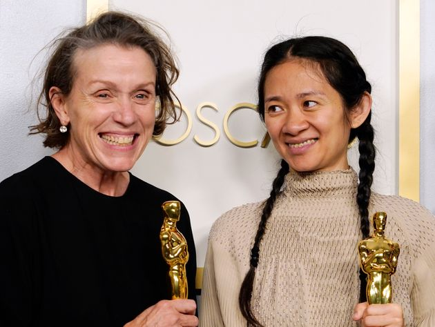 LOS ANGELES, CALIFORNIA - APRIL 25: Frances McDormand and Chloe Zhao, winners of Best Picture for