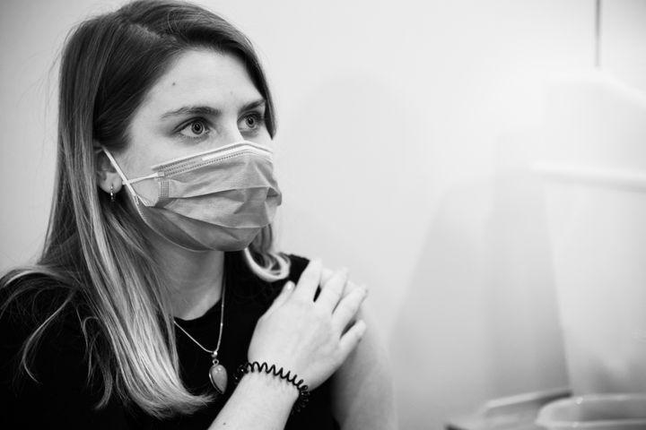 Alice Tooley receiving a vaccine in Leeds