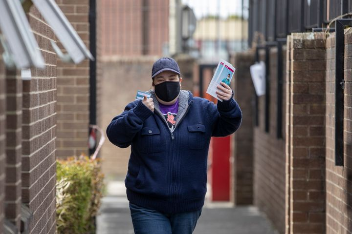 Jennifer Shields after receiving a vaccine at Owkleaf Medical Practice, Londonderry.