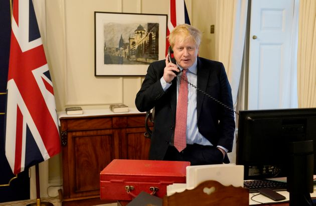 Prime minister Boris Johnson during one of his weekly audience's with the