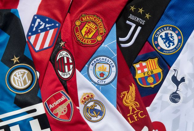 MANCHESTER, ENGLAND - APRIL 24: The club badges on the home shirts of the twelve European Super League...