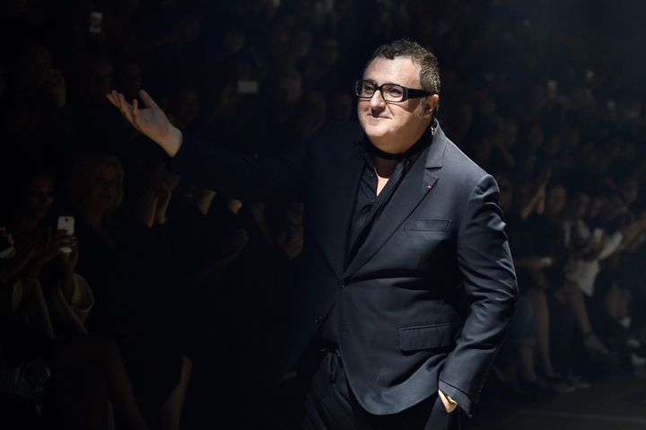 Alber Elbaz acknowledges applause after the Lanvin show as part of the Paris Fashion Week Womenswear Spring/Summer 2015 on Sept. 25, 2014.