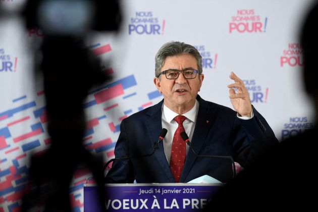 Jean-Luc Mélenchon photographié lors de ses vœux à la presse le 15 janvier