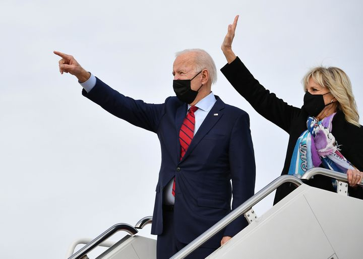 President Joe Biden and first lady Jill Biden board Air Force One before departing from Andrews Air Force Base in Maryland on