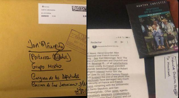 El sobre y el contenido que recibió el diputado de Bildu Jon