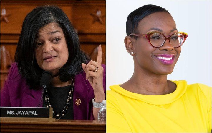 Rep. Pramila Jayapal (D-Wash.), left, endorsed former Ohio state Sen. Nina Turner's congressional bid on Tuesday. It's part o