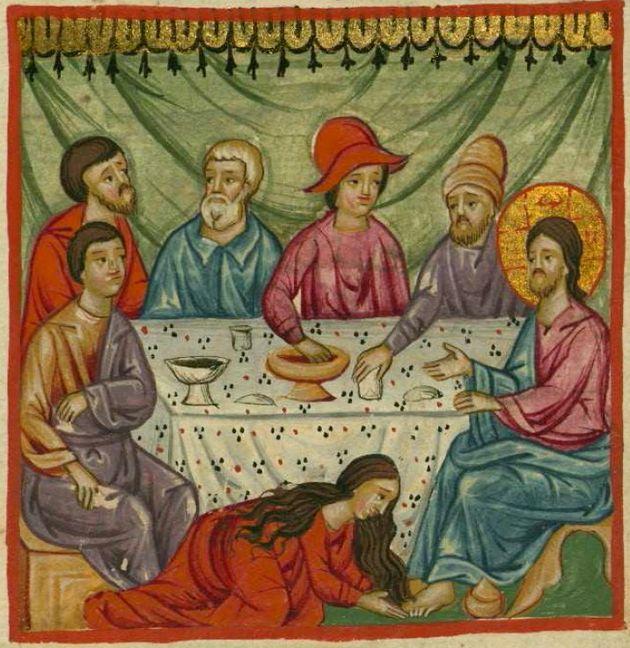 Η αμαρτωλή γυναίκα αλείφει με μύρο τα πόδια του Ιησού Χριστού