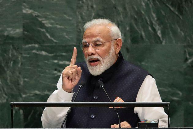 NEW YORK, NY - SEPTEMBER 27: Prime Minister of India Narendra Modi addresses the United Nations General...