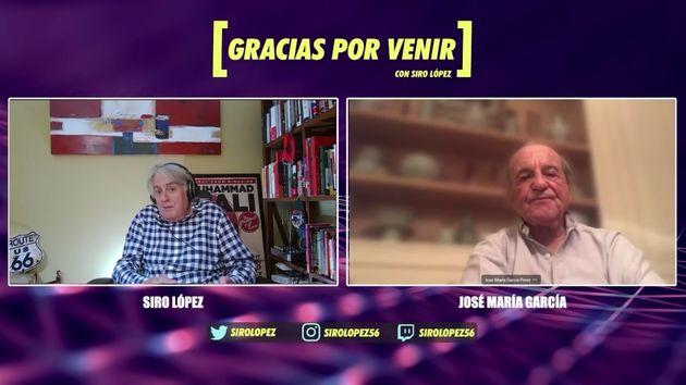 Siro López charla con José María García en