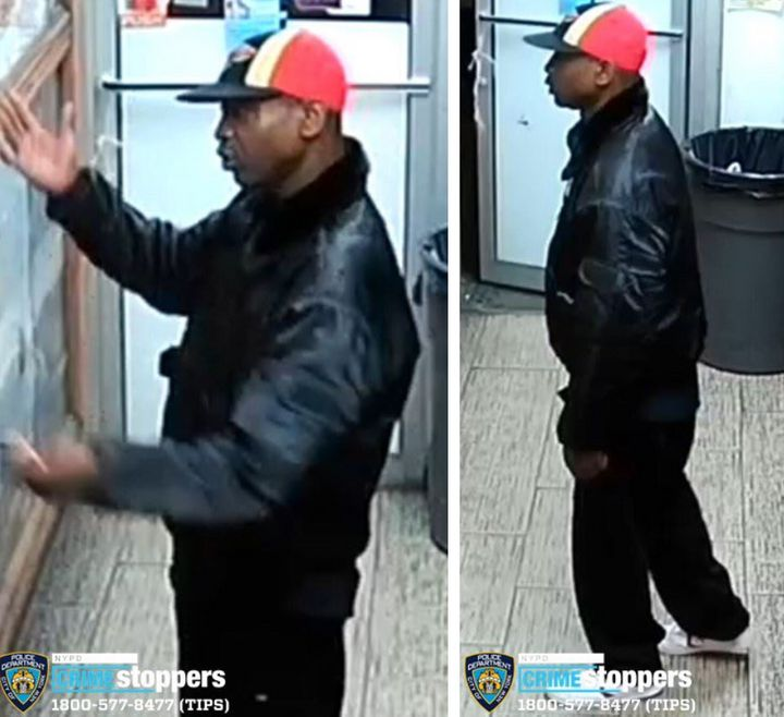 A man suspected of assaulting an Asian man in New York City's Harlem on Friday is seen in surveillance footage released by th