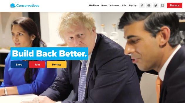 The party's 'Build Back Better' slogan on the Conservative Party