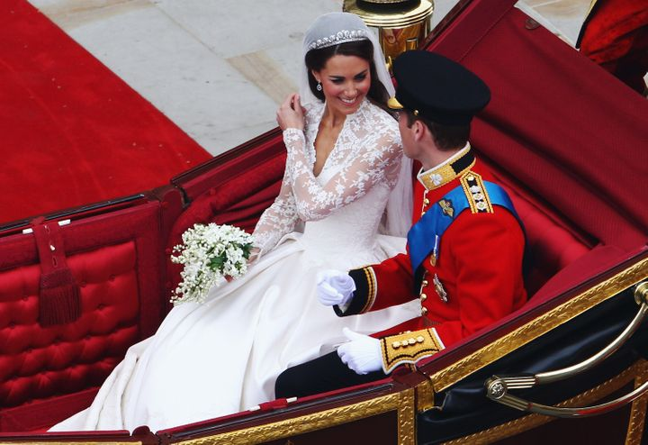 The Duke and Duchess of Cambridge in the carriage after their wedding.