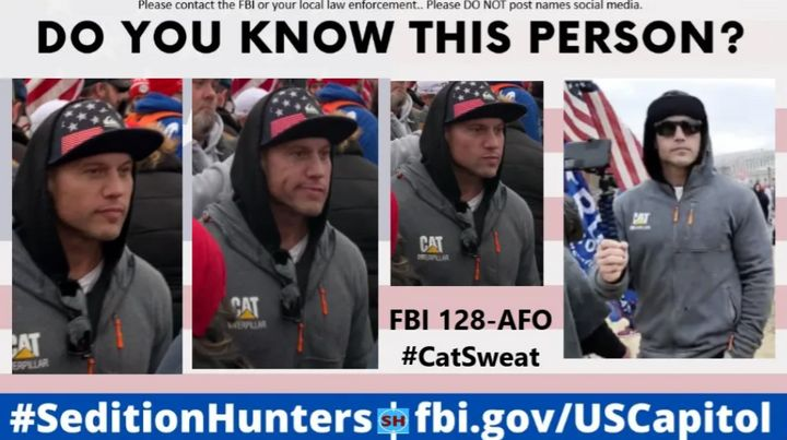 The man known as #CatSweat was wanted for assaulting officers at the Capitol.