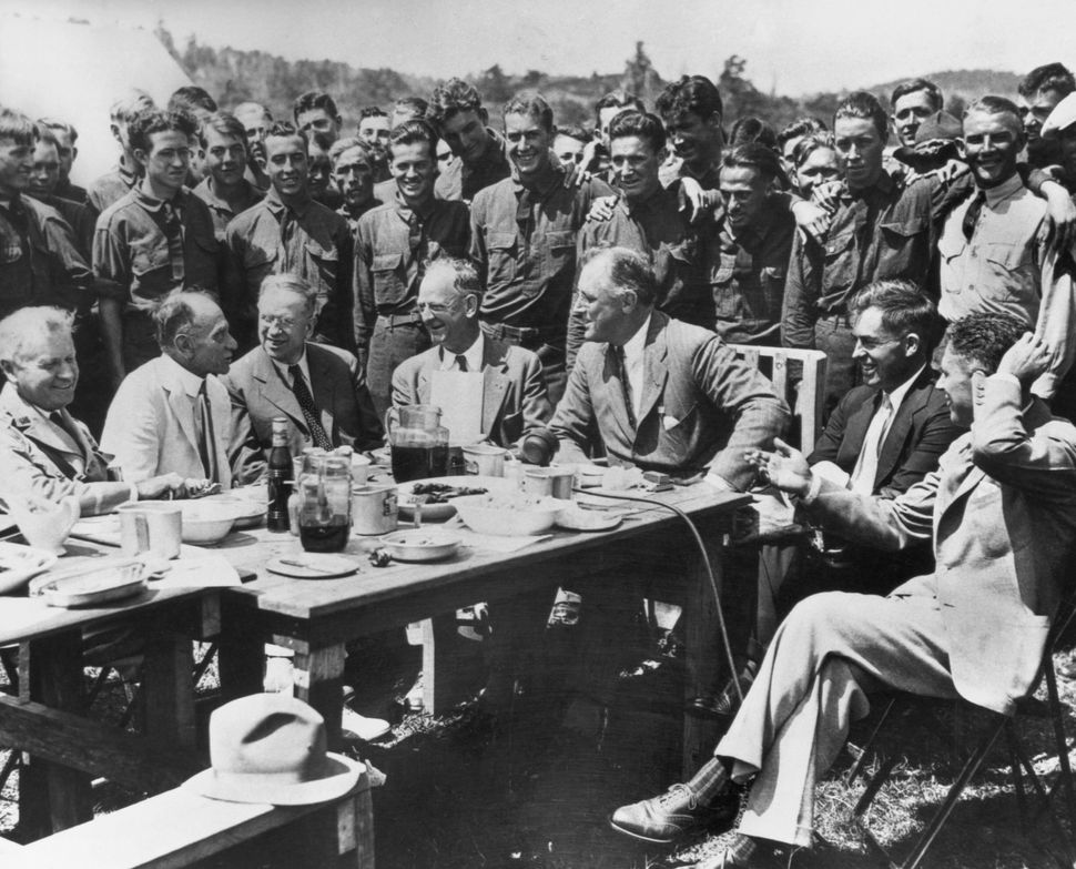 President Franklin Delano Roosevelt visits the Civilian Conservation Corps (CCC) camp in Big Meadows in the Shenandoah Valley