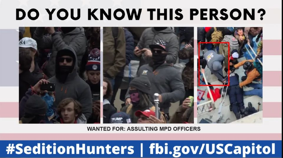 The image on the right shows #CatSweat and other insurrectionists dragging a police officer down the...