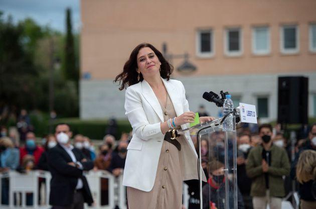 La presidenta de la Comunidad de Madrid, Isabel Díaz Ayuso, en un acto electoral en