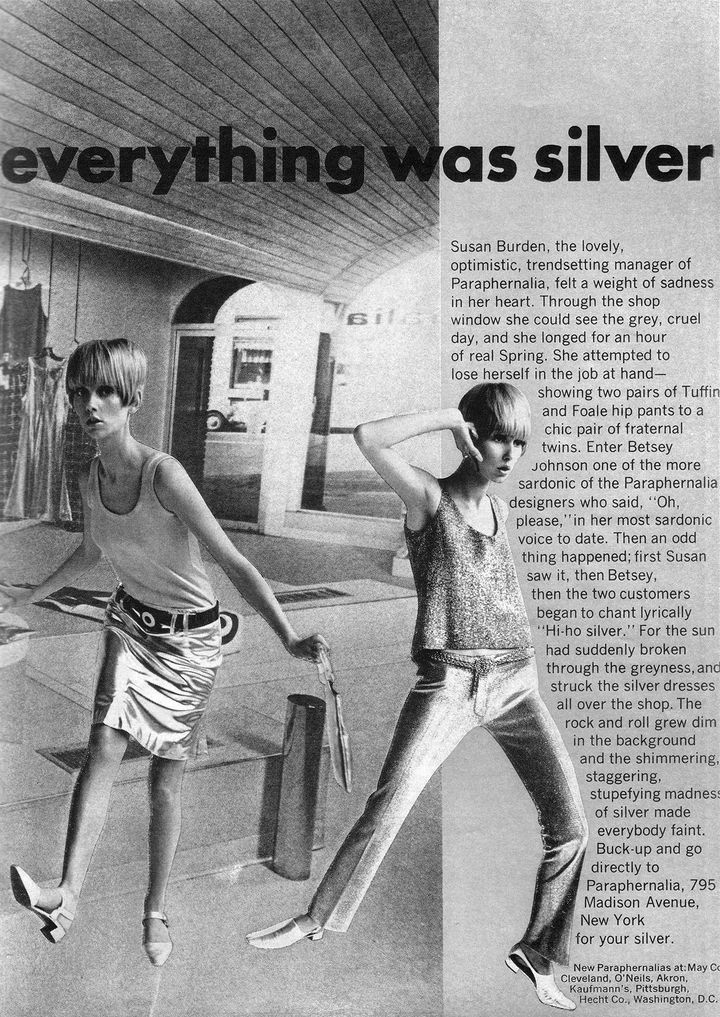 Zachary highlighted this 1960s ad from the New York City boutique Paraphernalia as an illustration of the rise of separates and flashy tops amid the Youthquake movement.