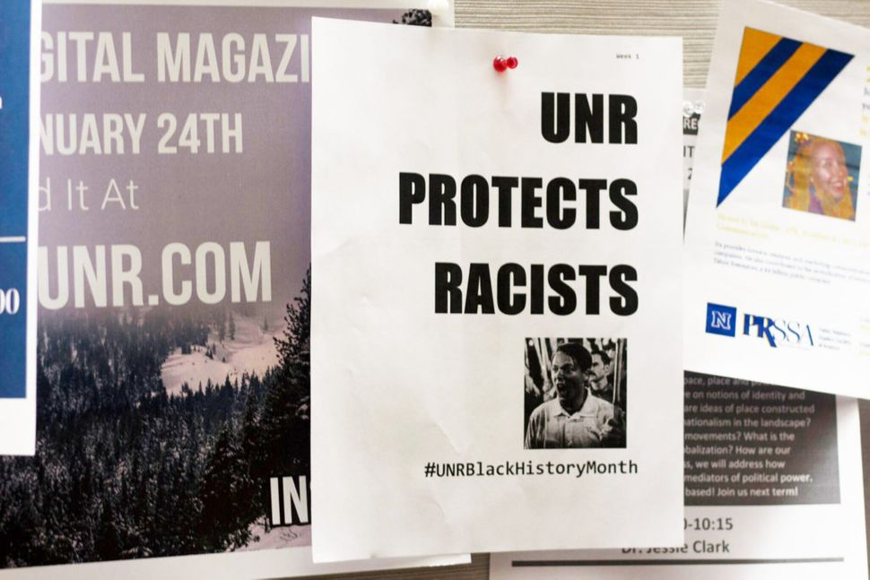 A flyer on the campus of the University of Nevada, Reno, on Feb. 1, 2018, protesting student Peter Cytanovic's presence on ca
