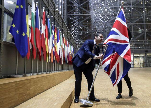 Retirada de la bandera de Reino Unido de la Comisión Europea, el pasado 31 de enero de