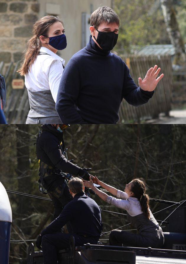 '미션 임파서블7' 촬영차 영국의 노스요크셔무어 국립공원에 방문한 톰 크루즈의 모습. 위는 2021년 4월 20일, 아래는 4월