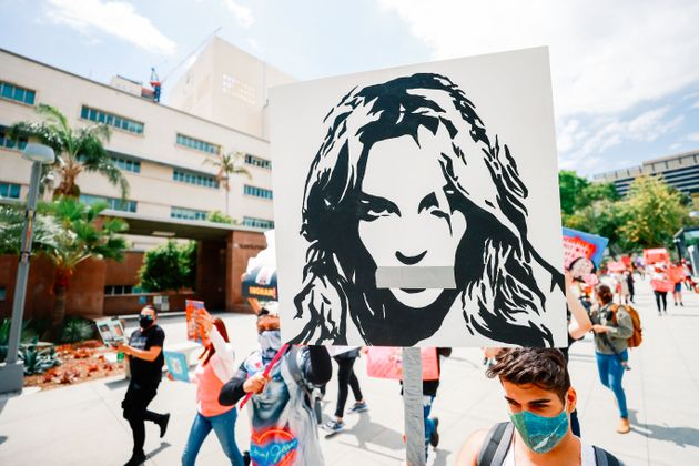 #FreeBritney activists protest outside Courthouse in Los Angeles during Conservatorship Hearing on April...