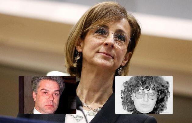 La ministra della Giustizia, Marta Cartabia. In basso gli ex terroristi Giorgio Pietrostefani e Marina